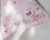 "CUSTOM Name PERSONALIZED BABy Gift Pillow Case SWEET DREAMs Bunny 17"" Travel Child Baby Bedding Boy Girl Teen Embroidered Keepsake Gift"