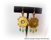 "12 gauge shotgun shell earrings, skeet and target shooters, repurposed ""Fancy Lady"" original design bootscootin gift"