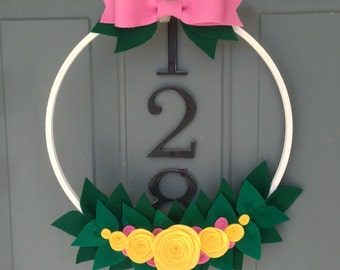 Handmade Felt Hoop Door Wreath Decoration - Spring Basket 14""