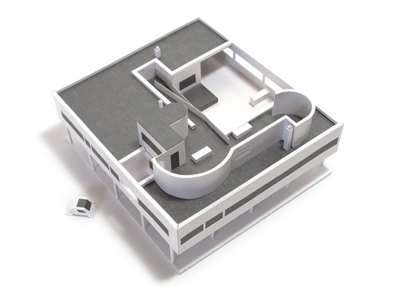 Villa Savoye, craft kit for making an architectural model of Le Corbusier's modernist villa || scale 1/200 || white or white & silver