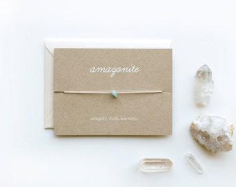 Amazonite - Crystal Card - friendship necklace or bracelet - gold - aquamarine - bridesmaid gift - birthday - best friends - bff - love
