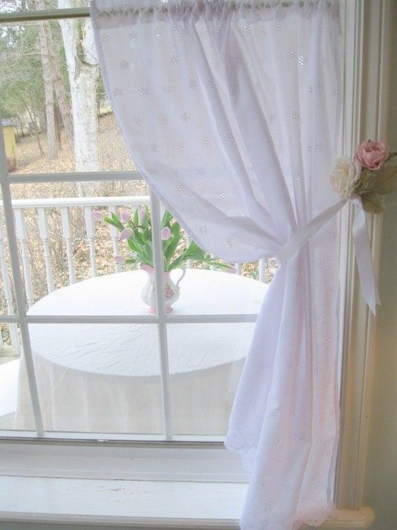 Eyelet Curtain Cafe Curtain White Shabby Chic Shabby