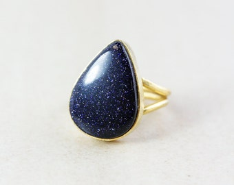 Teardrop Midnight Blue Sunstone Ring - Statement Ring