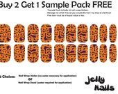 20 Pumpkin Halloween Full Nail Wrap Sticker Strips (SALE: Buy 2 Get 1 FREE--read description for details)