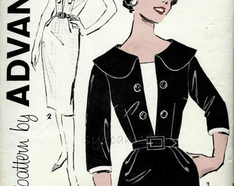 Vintage 1960s Pattern Sheath Shirtwaist Double Button Dress Large Collar Contrast Modesty Inset 1960 Advance 9298 Bust 37 UNCUT
