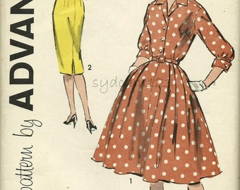Vintage 1960s Pattern Shirtwaist Dress Slim or Full Pleated Skirt Cuffed Sleeves 1960 Advance 9429 Bust 39 UNCUT