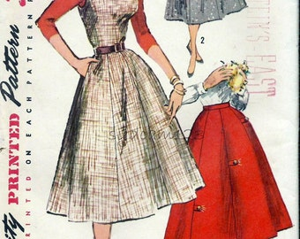 Vintage 1950s Pattern Jumper with Shaped Neckline and Gored Skirt Tab Button Detail 1956 Simpliciy 1761 Bust 32 UNCUT