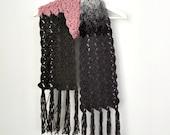 Long Scarf Crochet Scarf Fringed Scarf Womens Scarf Ribbed Scarf Womens Knit Scarves Pink Grey Scarf Long Scarf