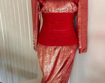 Sale Vampy VINTAGE Red Velvet and Gold Lurex Gown -- Burlesque -- Viva Las Vegas -- Casino