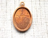 3  Lord's Prayer Oval Charms Vintage 1950s Pendants // Brass // Our Father Prayer // NOS Jewelry Supply