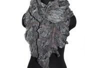 Nuno Felted Scarf Wool Silk Felt Scarf Spring Fashion Grey Textured OOAK Felt Gift