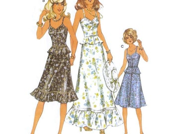 1970s Midi or Maxi Summer Dress with Sweetheart Neckline Burda Patterns 21067 B33 - B36