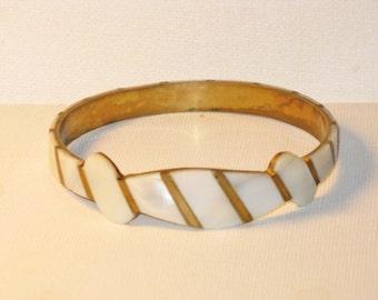 Vintage Mother of Pearl Brass Bangle Bracelet (BR-2-3)