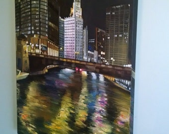 Original Night Cityscape Oil Painting of Chicago - 24x36in