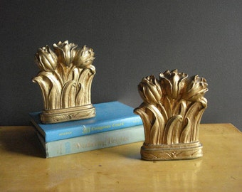 Tulip Gold - Pair of Vintage Gold Flower Bookends