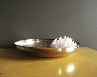 Sweet Silver Bowl - Flat, Low Silverplate Bowl - Large Oneida Silversmiths Bowl