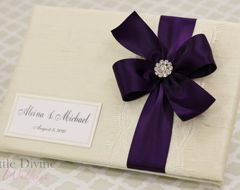 Wedding Guest Book Cream Ivory Purple Custom Made in your Colors