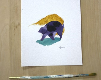 Cat Arching its Back- Original Watercolor Painting- 5x7""