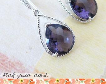 Mabel - Bridal Earrings Bridesmaid Earrings Cubic Zirconia ear wires, Amethyst Purple Crystal Tear drops, Purple Bridesmaid jewelry