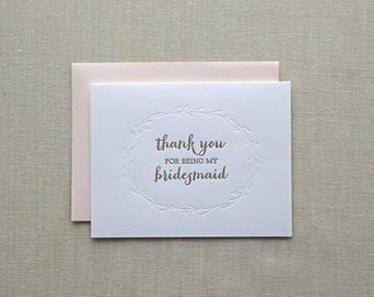 Thank You for being my Bridesmaid: letterpress cards