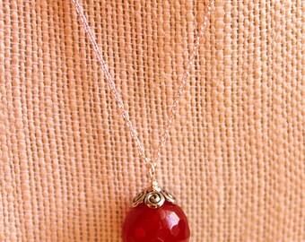 Single Bead Necklace, Red Pendant Necklace, Silver Minimalist Necklace, Silver Pendant Necklace, Sterling Silver Necklace, Jade Pendant