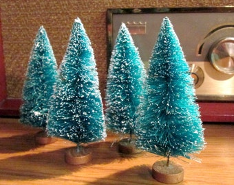 """Vintage Style Bottle Brush Trees for Villages or Crafting 4 1/2"""" Buy 1 or Buy Them All!"""
