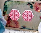 Buy 1 Get 1 Free - 20pcs  (WE13)  Hexagon Handmade Photo Wood Cut Cabochon (Back White)