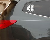 Monogram Decal, 3 Initial monogram, 6x7 vinyl monogram letter automotive sticker (W00931)