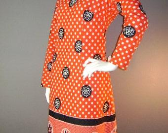 60s dress 1960s vintage RED WHITE BLUE polka dot flower print mod new old stock dress