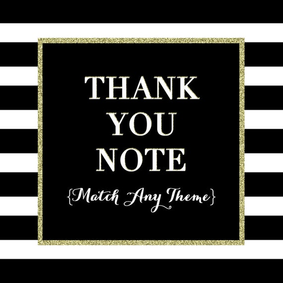 Matching Thank You Note - or Folded Food Tents - PRINTABLE DESIGN