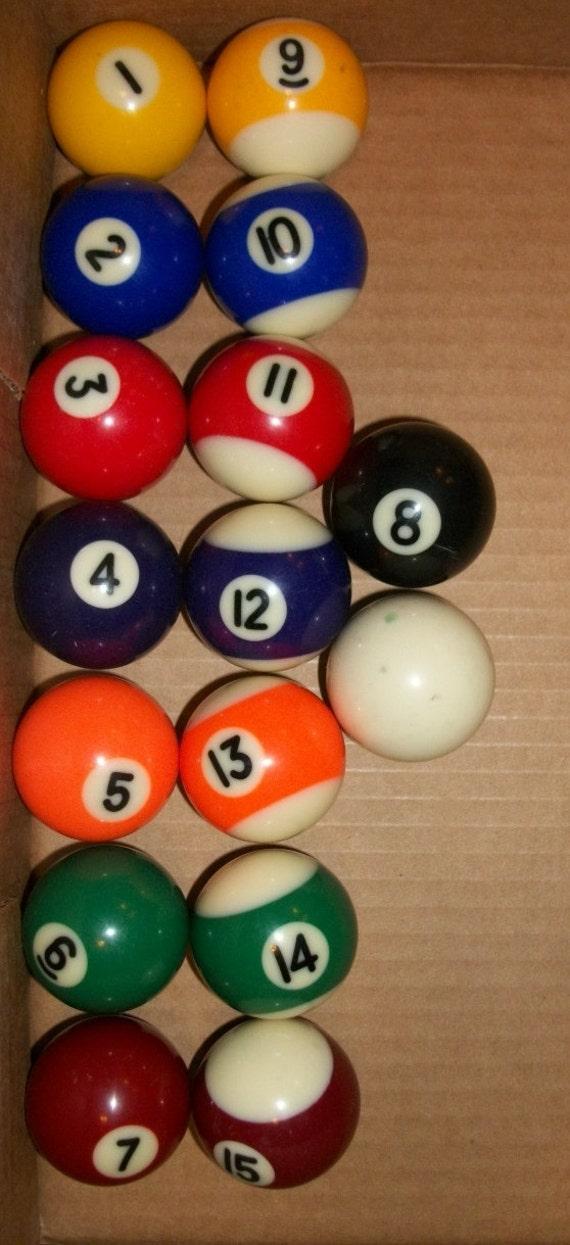 vintage mini pool balls complete set of 16 by junkydory on etsy. Black Bedroom Furniture Sets. Home Design Ideas