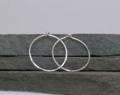 Simple Sterling Silver Hoop Earrings with Hammered Ripple Pattern - Small