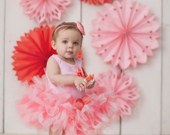 Baby Girls Birthday Tutu Dress Outfit, Sweet Coral Pink Tutu Dress, 1st Birthday