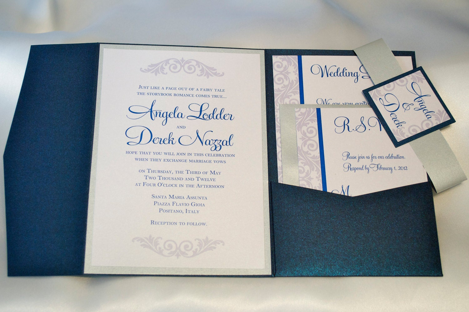 Navy Blue And Silver Wedding Invitations: Navy Blue And Silver Wedding Invitation Pocketfold