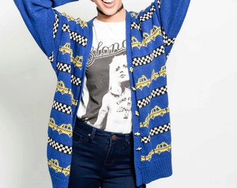 Vtg 80s Adorable Blue Taxi Novelty Checkered Hipster Button Cardigan Sweater S/M