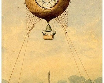 antique french illustration hot air balloon over paris eiffel tower digital download