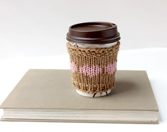 Vegan Coffee Sleeve, Organic Cup Cozy, Cotton Coffee Cozy, Pastel Cup Sleeve, Gift For Her, Stocking Stuffer, Gift For Mom, Cozy Pink Hearts