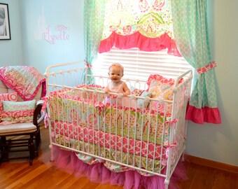 Boutique Tulle Scalloped Crib Bedding Set- Kumari Garden