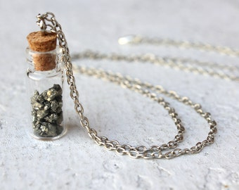 Pixie Dust Necklace Made from Real Pyrite. Natural, Nature, Minerals, Fool's Gold