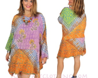 SunHeart BOHO Vintage SILK Top lagenlook tunic Top OOAK embroidered sequin one-size fits Small-Med-Large-Xl-1X-2X-3X plus