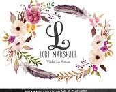 Floral & Feather Wreath Logo -  Monogram Wreath, Monogram Logo, Premade Logos, Watercolor Logo, Custom Logo, Name Logo, FLoral Logo