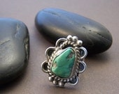 Vintage Turquoise Sterling Ring - Native American Handmade Ring