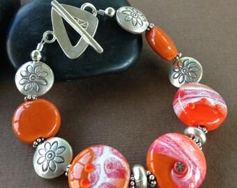 Misty Bracelet - Lampwork Glass Bead and Sterling Silver Beaded Bracelet