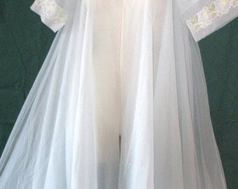 "Double Layerd Chiffon & Appliquis~ VINTAGE Nightgown Robe by~Eye Ful Nylon of the ""FLAUMS""~Peignoir Negligee FULL Sweep Chiffon~Lounger Robe"