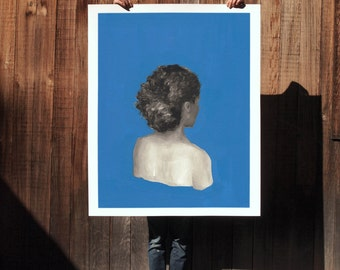 Blue .  extra large wall art . giclee print