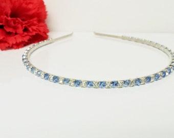 Light Blue Rhinestone Bridal Headband with Swarovski Crystals for Bride, Bridesmaid, Prom, Flower Girl or Wedding Party