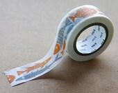 Fish Tape,   BENGT LOTTA, Japanese Washi Paper Masking Tape, Collage, Card Decoration, Unique Fish Art, Nordic Design, Journal Decor Sticker