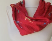Vintage Red Silk Butterfly Scarf