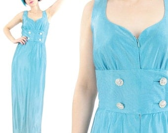 40% OFF SALE 1960s Turquoise Evening Dress Rhinestone Evening Gown Aqua Rhinestone Buttons Formal Dress Sleeveless Party Dress Fitted S E718