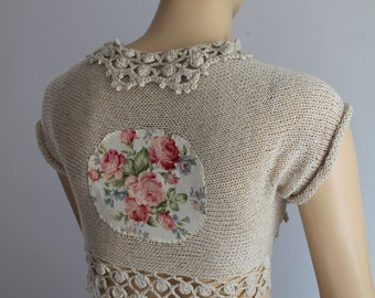 Ready to ship Boho Chic Off White  Hand Knit  Crochet   Shrug Bolero -  Summer  Fashion- Fall Wedding - Luxury - Size S-M
